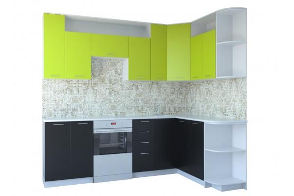 Кухня угловая Артем-Мебель Виола черный-лайм на светлом корпусе