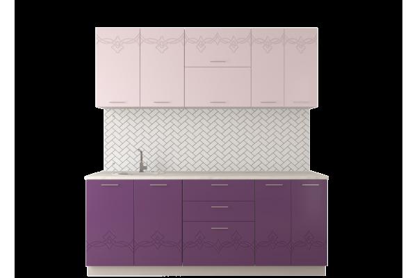 Кухня прямая Артем-Мебель Адель, розовый металлик
