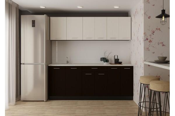 Кухня линейная Артем-Мебель Лана сосна арктическая/венге