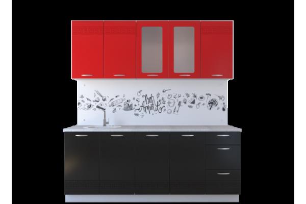 Кухня линейная Артем-Мебель Оля МДФ Красный глянец
