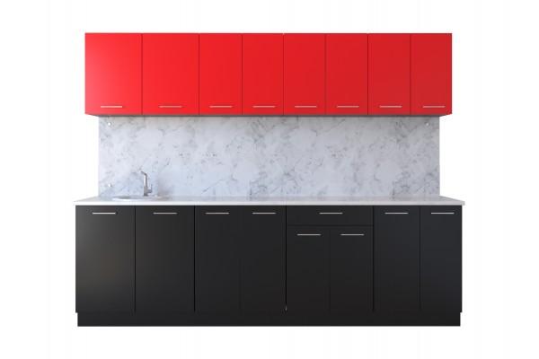 Кухня линейная Артем-Мебель Лана черный-красный