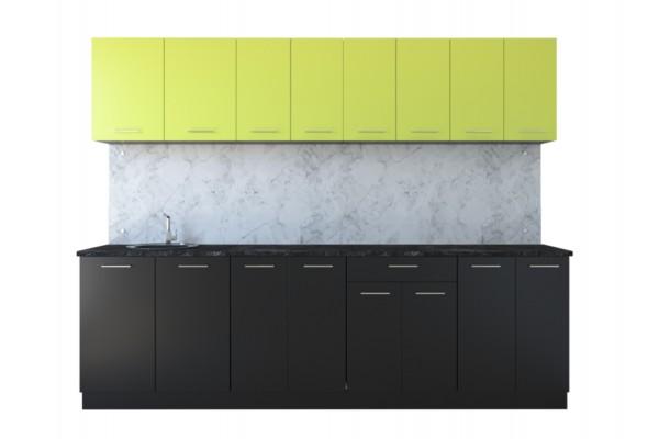 Кухня линейная Артем-Мебель Лана черный-лайм 2.0 м