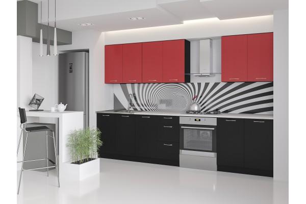 Кухня прямая Артем-Мебель Оля черный-красный