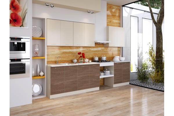 Кухня прямая Артем-Мебель Оля ясень темный ваниль
