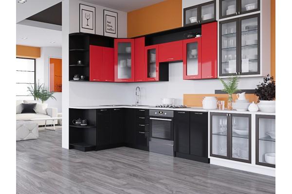 Кухня угловая Артем-Мебель Виола красно-чёрный