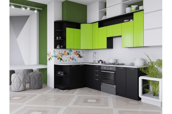 Кухня угловая Артем-Мебель Виола черный-лайм