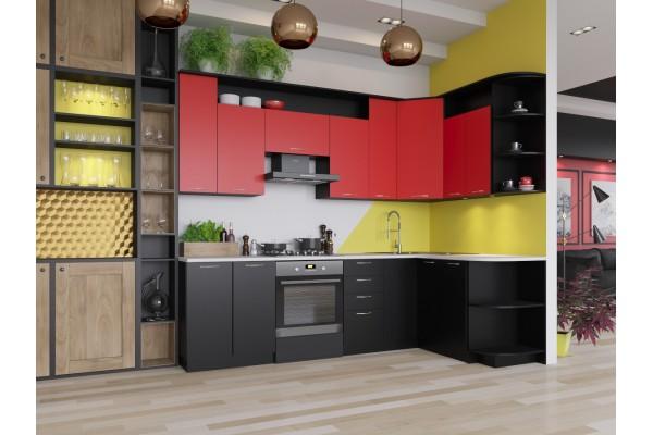 Кухня угловая Артем-Мебель Виола черный-красный
