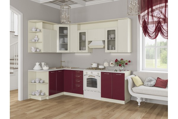 Кухня угловая Артем-Мебель Виола бордо-ваниль