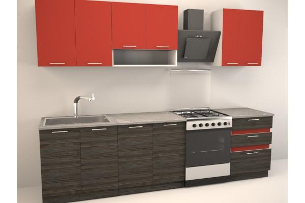 Кухня прямая Иволанд Красная